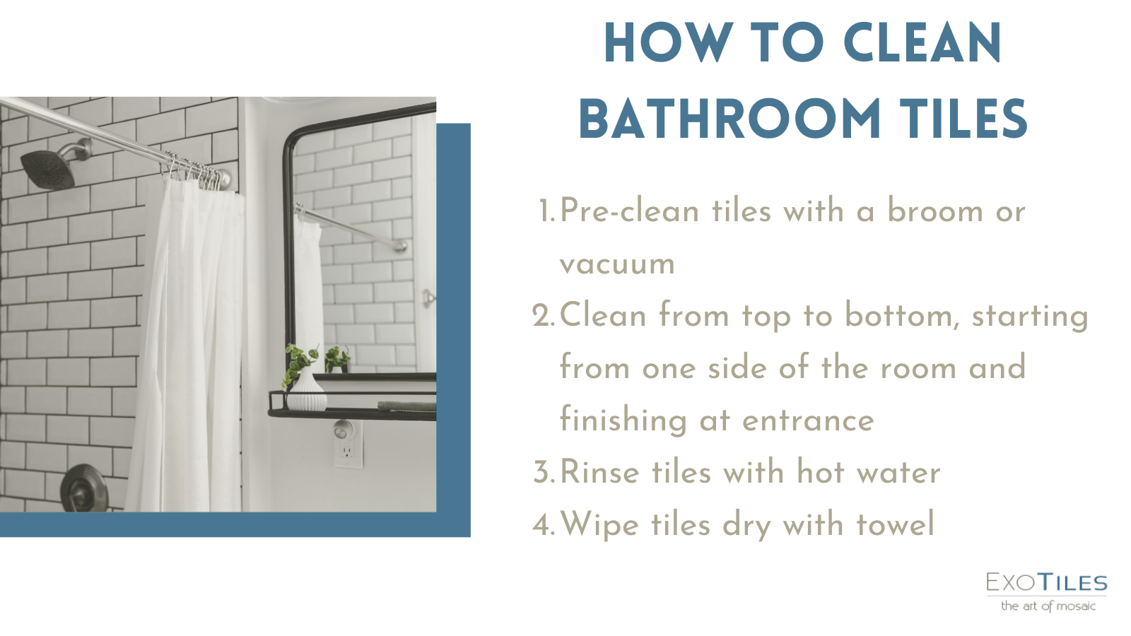 How to clean bathroom tiles infographic